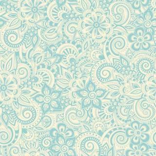 Papel de Parede Floral Azul e Branco | Adesivo Vinílico