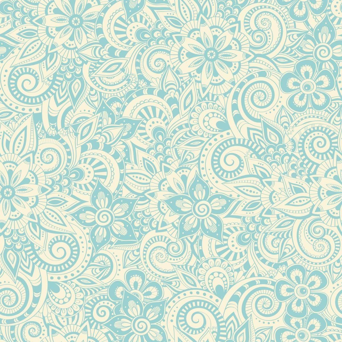 Papel de Parede Floral Azul e Branco | Adesivo Vinílico imagem 1