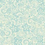 imagem do Papel de Parede Floral Azul e Branco | Adesivo Vinílico