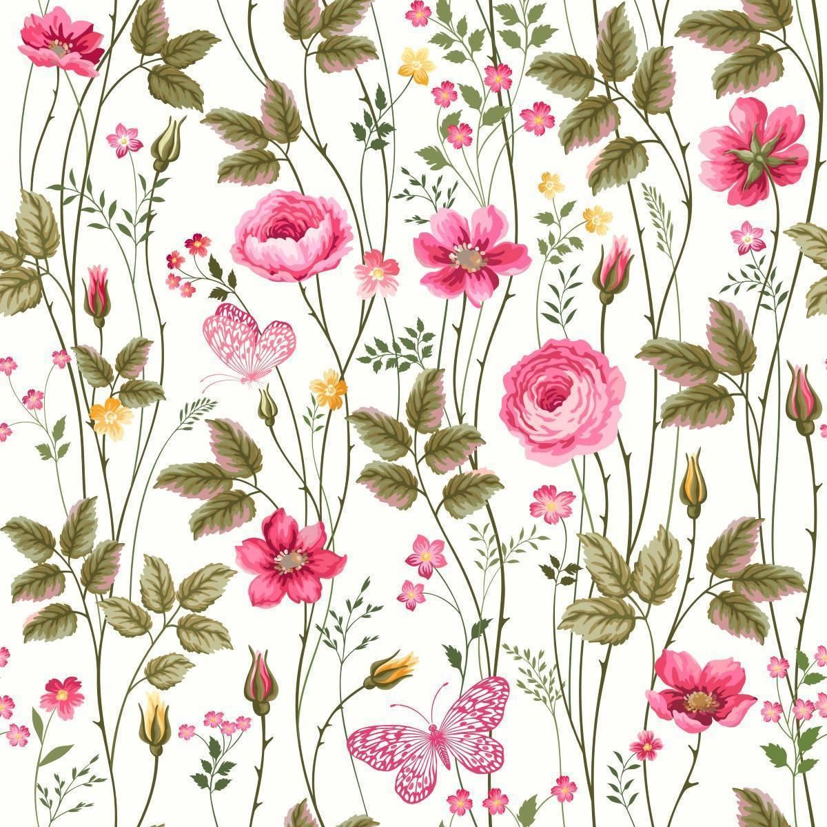 Papel de Parede Floral Rosas | Adesivo Vinílico imagem 1