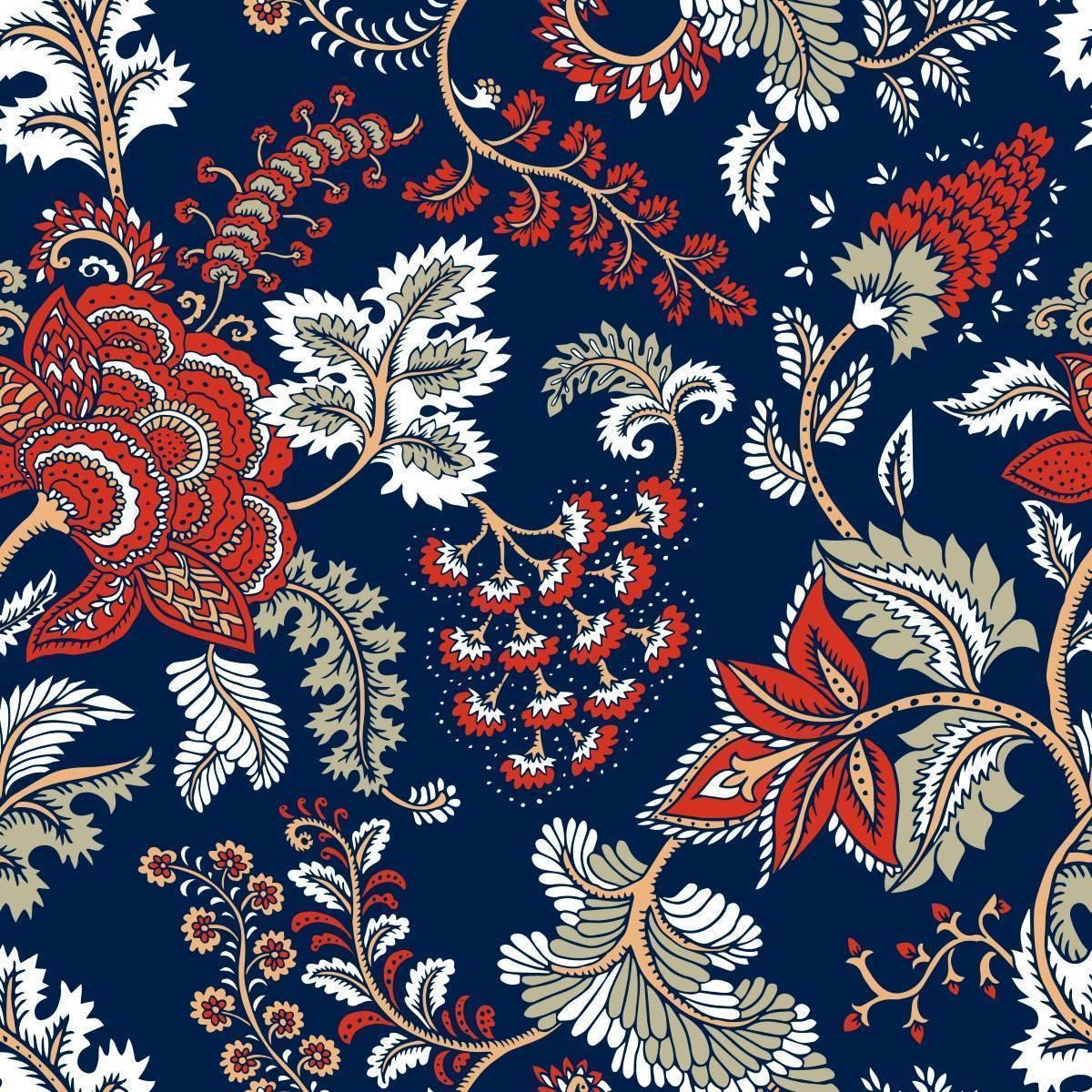 Papel de Parede Indiano Azul | Adesivo Vinílico imagem 1