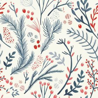 Papel de Parede Floral Azul e Vermelho | Adesivo Vinílico