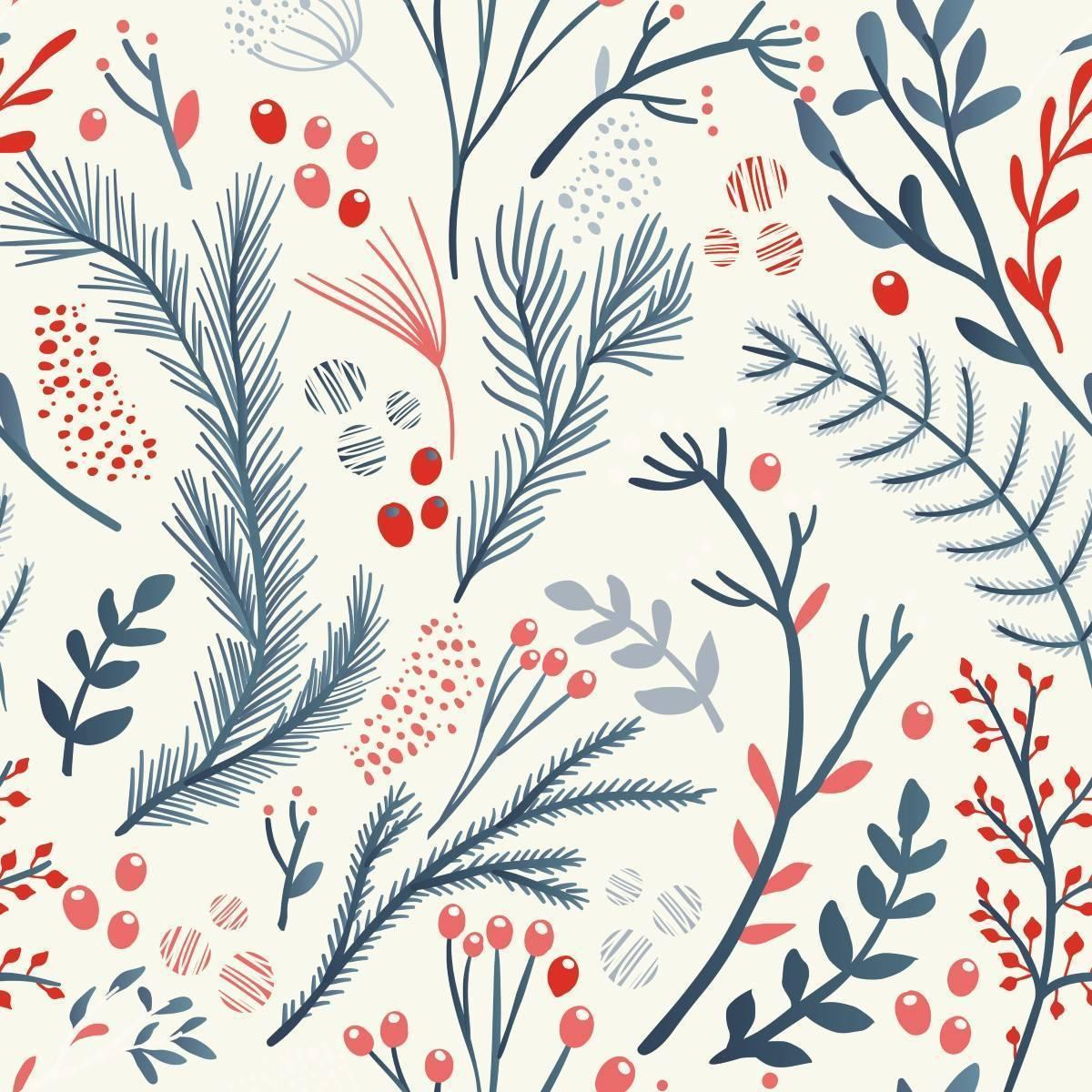 Papel de Parede Floral Azul e Vermelho | Adesivo Vinílico imagem 1