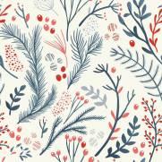 imagem do Papel de Parede Floral Azul e Vermelho | Adesivo Vinílico