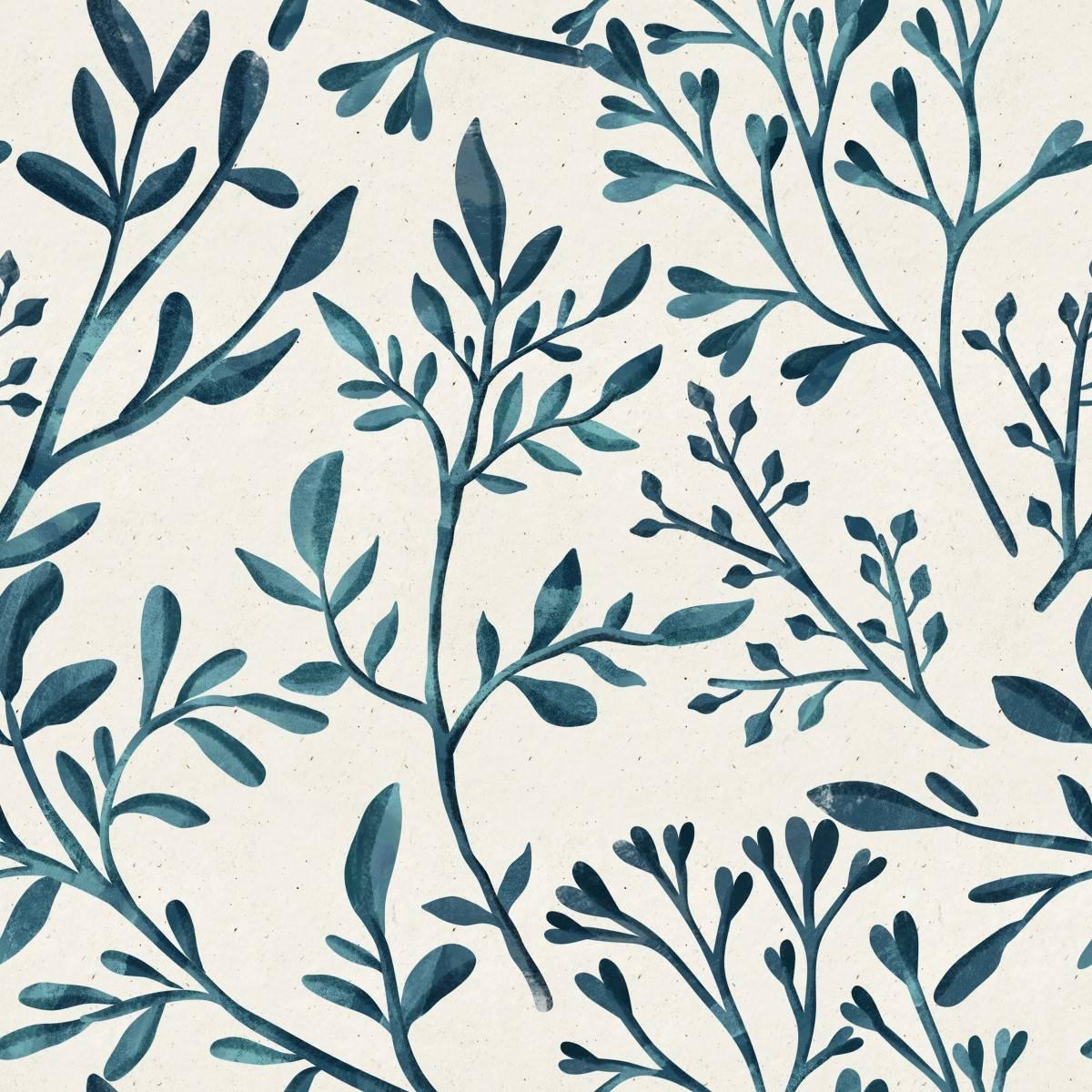 Papel de Parede Ramo Azul | Adesivo Vinílico imagem 1