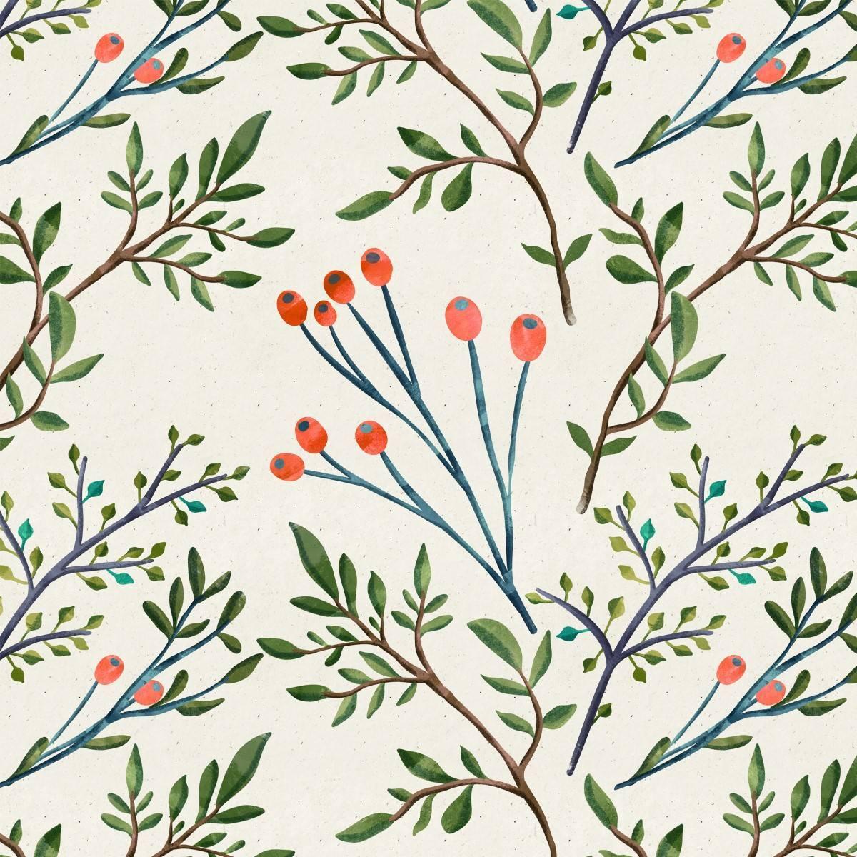 Papel de Parede Floral Ramos Aquarela | Adesivo Vinílico imagem 1