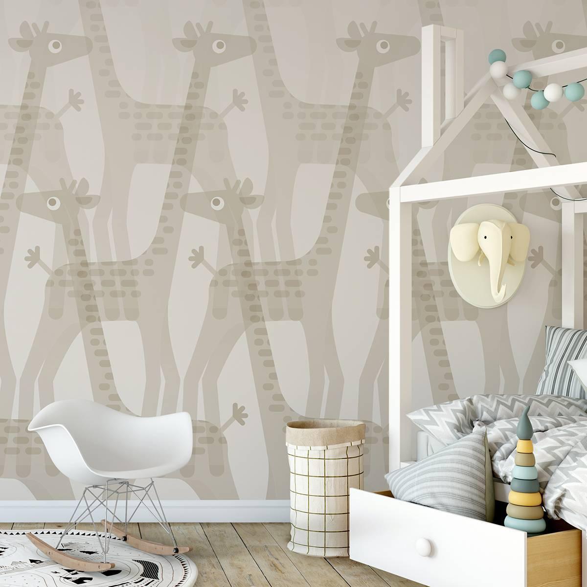 Painel Fotográfico Infantil Manada de Girafas / m²