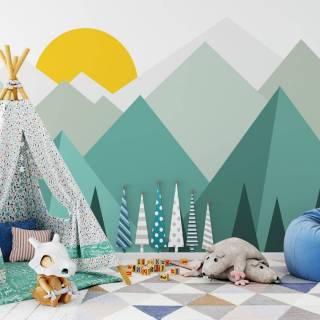 Painel Fotográfico Infantil Montanhas Verde/ m²