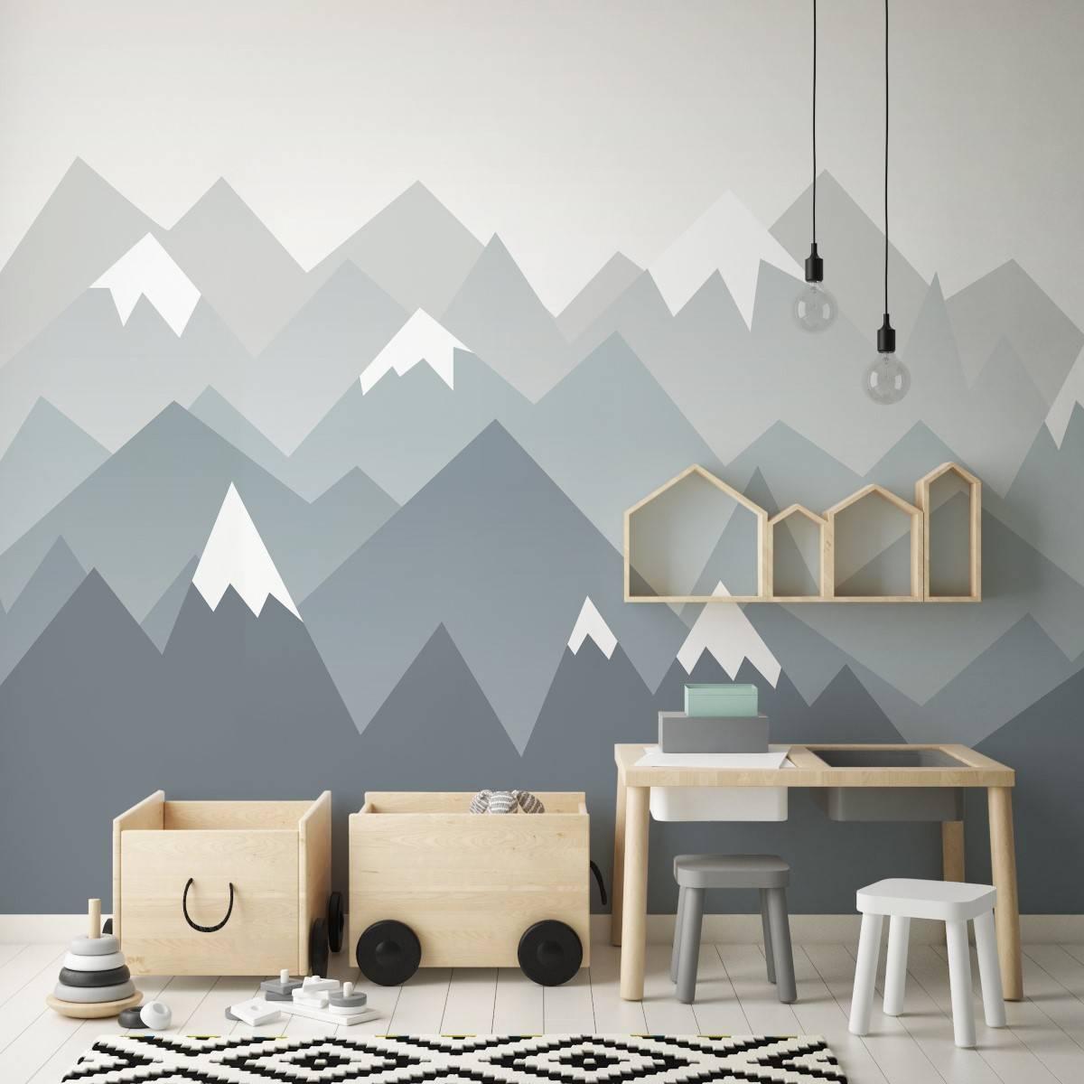 Painel Fotográfico Infantil Montanhas Neve/ m² imagem 2