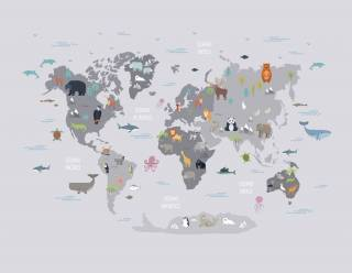 Painel Fotográfico Infantil Mapa Mundi Cinza/ m²