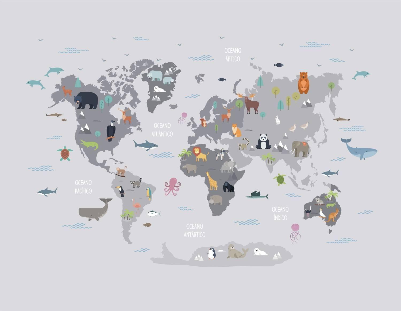 Painel Fotográfico Infantil Mapa Mundi Cinza/ m² imagem 1