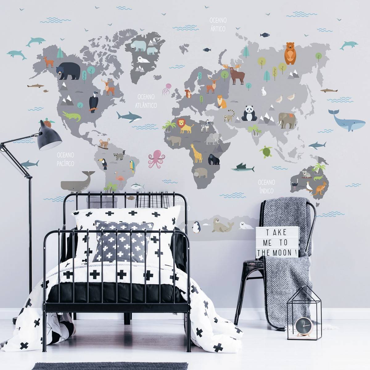 Painel Fotográfico Infantil Mapa Mundi Cinza/ m² imagem 2