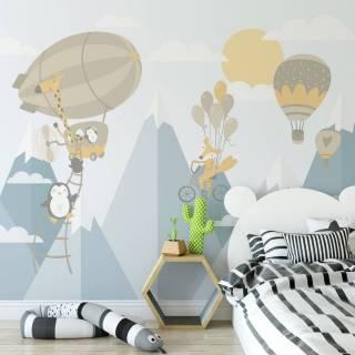 Painel Fotográfico Infantil Viagem nas Montanhas Amarelo/ m²