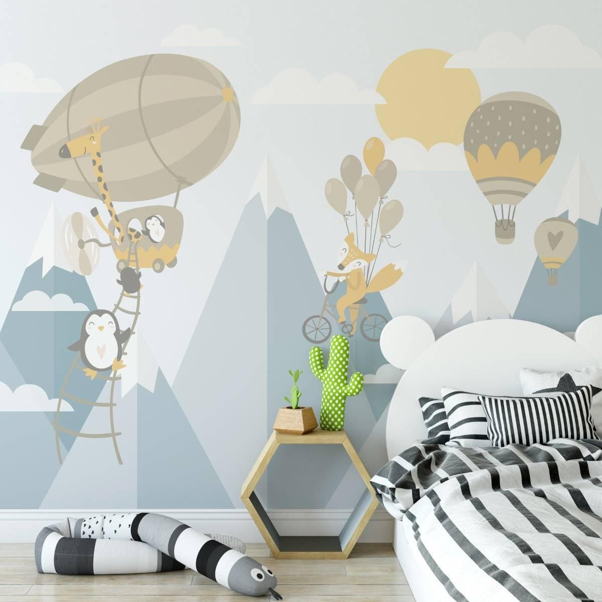 Painel Fotográfico Infantil Viagem nas Montanhas Azul | m² imagem 1