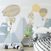 imagem do Painel Fotográfico Infantil Viagem nas Montanhas Azul | m²