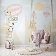 imagem do Painel Fotográfico Infantil Viagem nas Montanhas Rosa/ m²