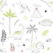 imagem do Papel de Parede Adesivo Dinossauros Rosa /Rolo