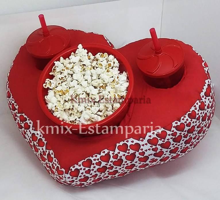 Almofada porta pipoca formato de Coração, personalizada como - kmix estamparia