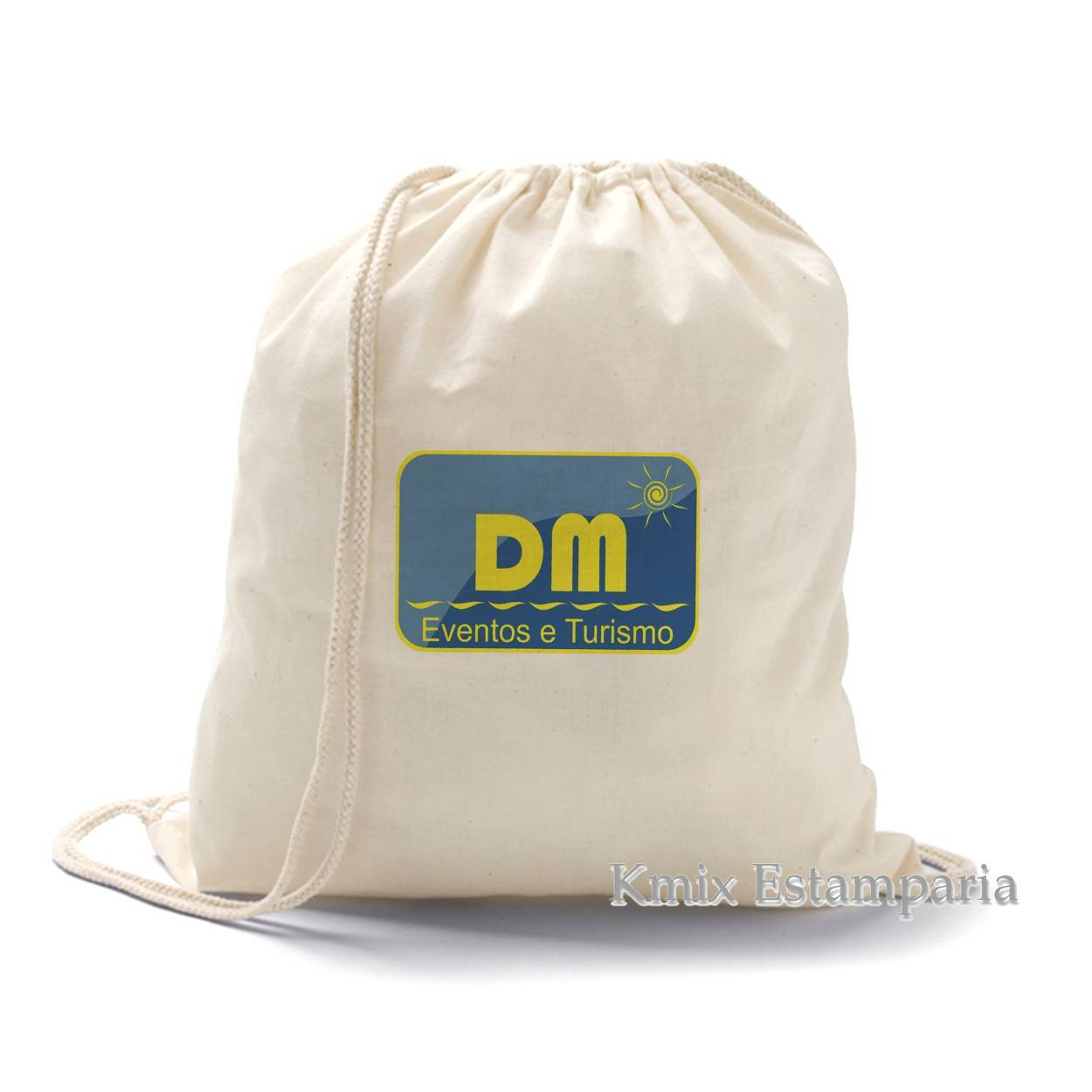 Sacola tipo mochila 100% algodão. 37 x 41 cm (92456) - kmix estamparia