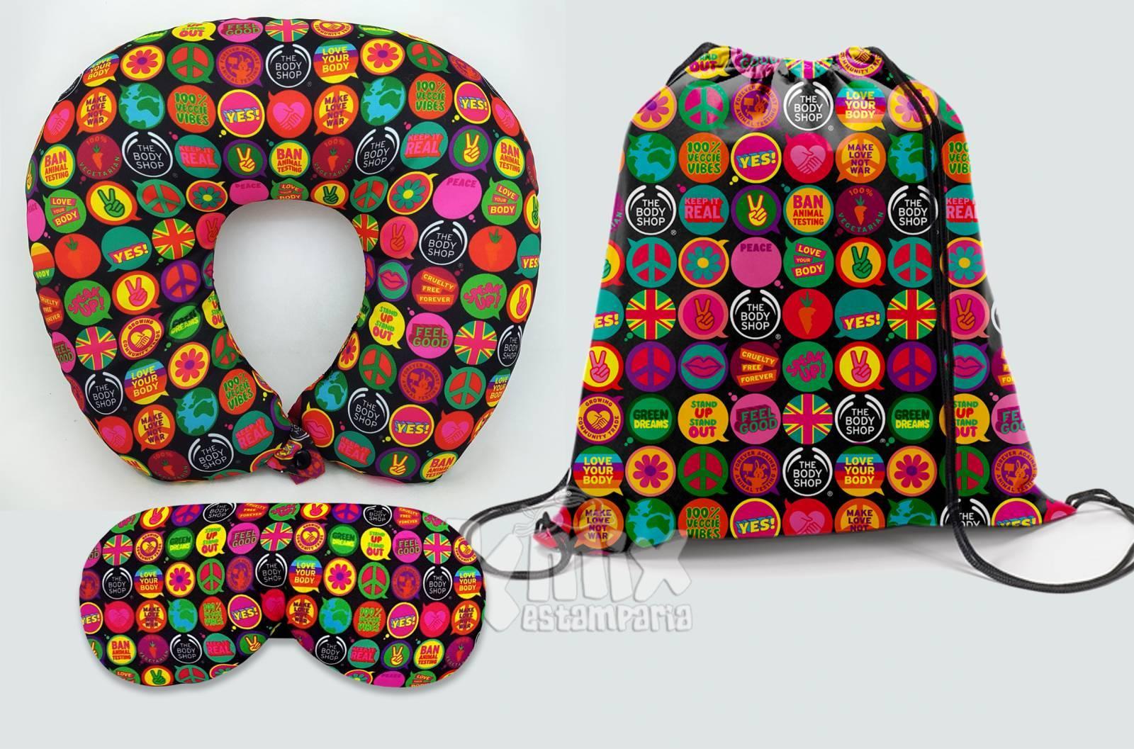 Kit Almofada de pescoço, máscara de dormir e sacola 37x41 cm - kmix estamparia