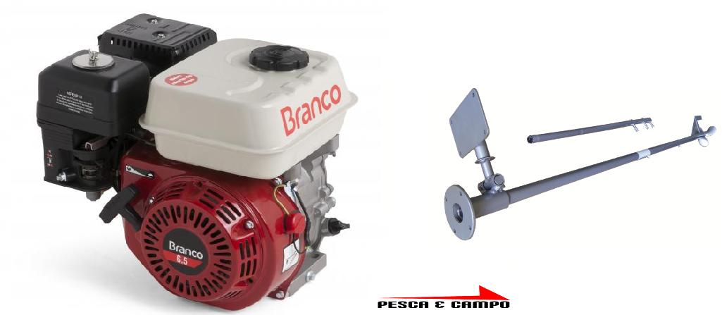 Motor Gasolina Branco 6.5 cv com rabeta simples - Pesca e Campo