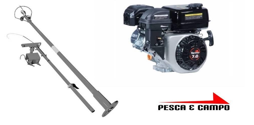 Motor Gaso Toyama 7 hp partida eletrica rabeta original 1,7m - Pesca e Campo