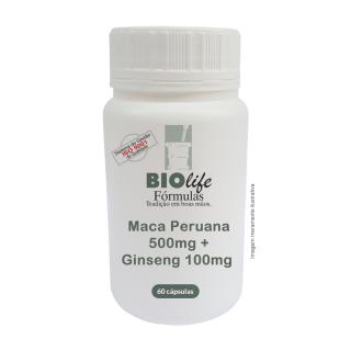 Maca Peruana 500mg + Ginseng 100mg - 60 cápsulas -  Energético e Restaurador Físico | BioLife