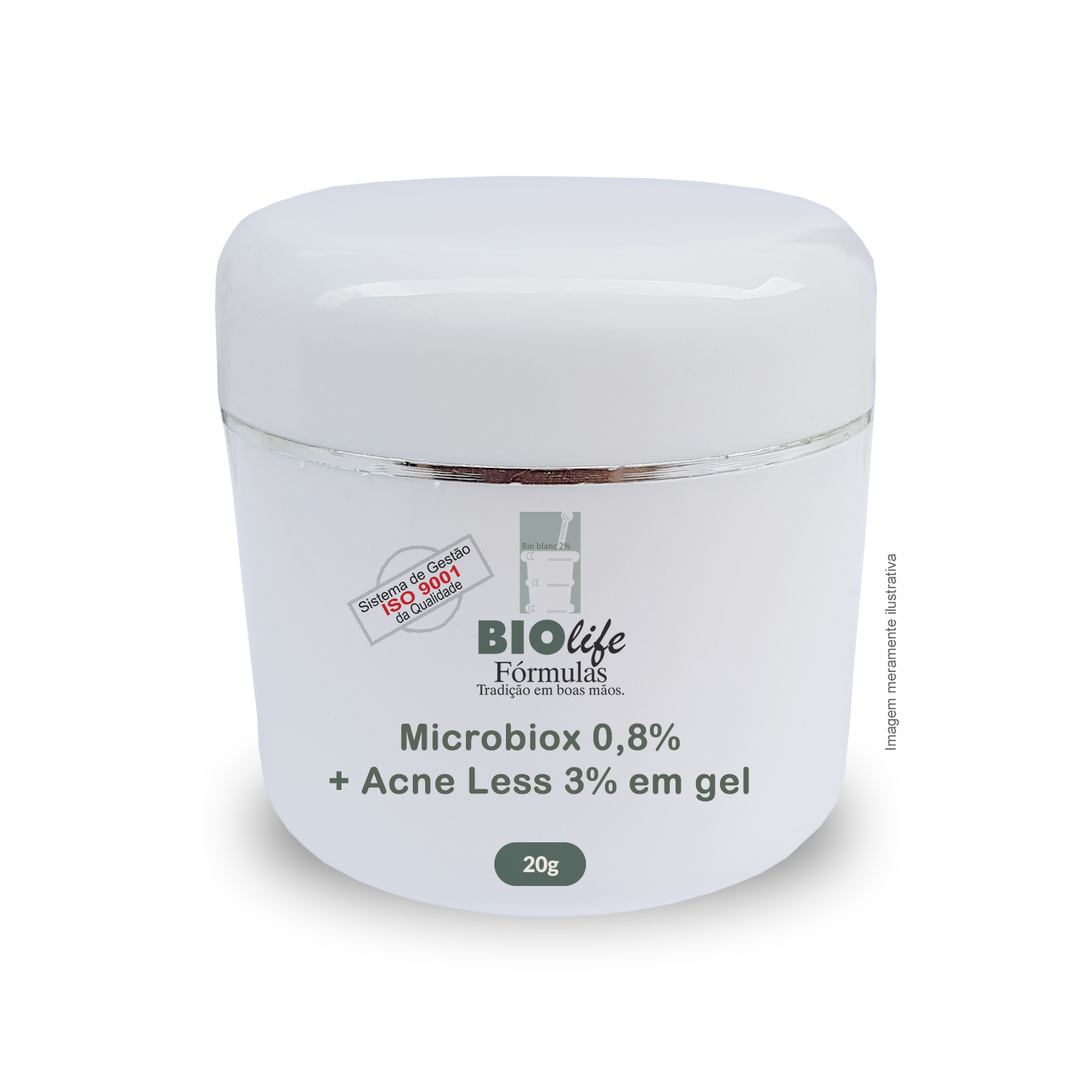 Microbiox 0,8% + Acne Less 3% + Gel base qsp 20g