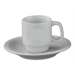 X�cara com Pires de Caf� Porcelana Branca/ Caixa com 12 Unidades. | Refrimur