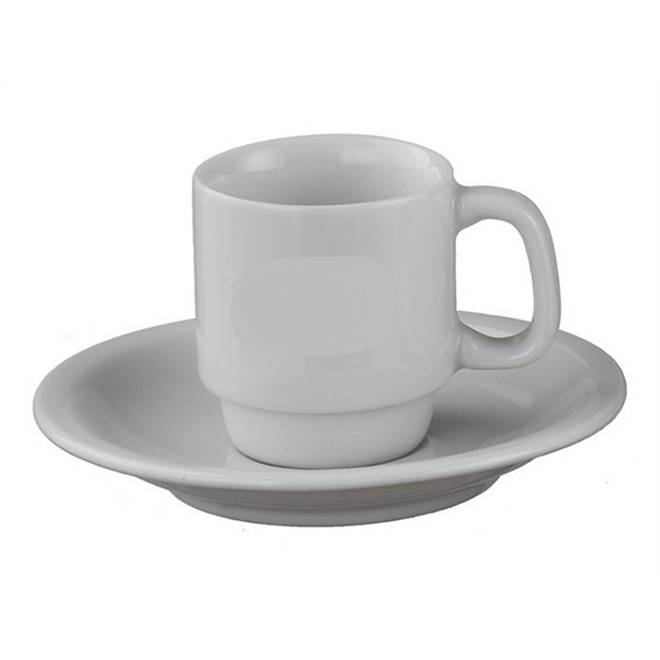X�cara com Pires de Caf� Porcelana Branca/ Caixa com 12 Unidades.