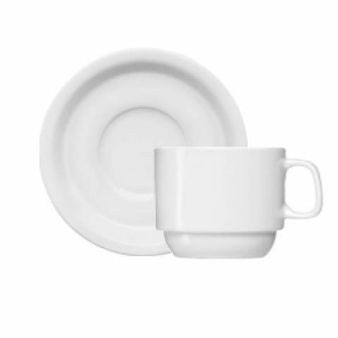 X�cara de Ch� com Pires Porcelana Branca. Caixa com 12 Unidades.