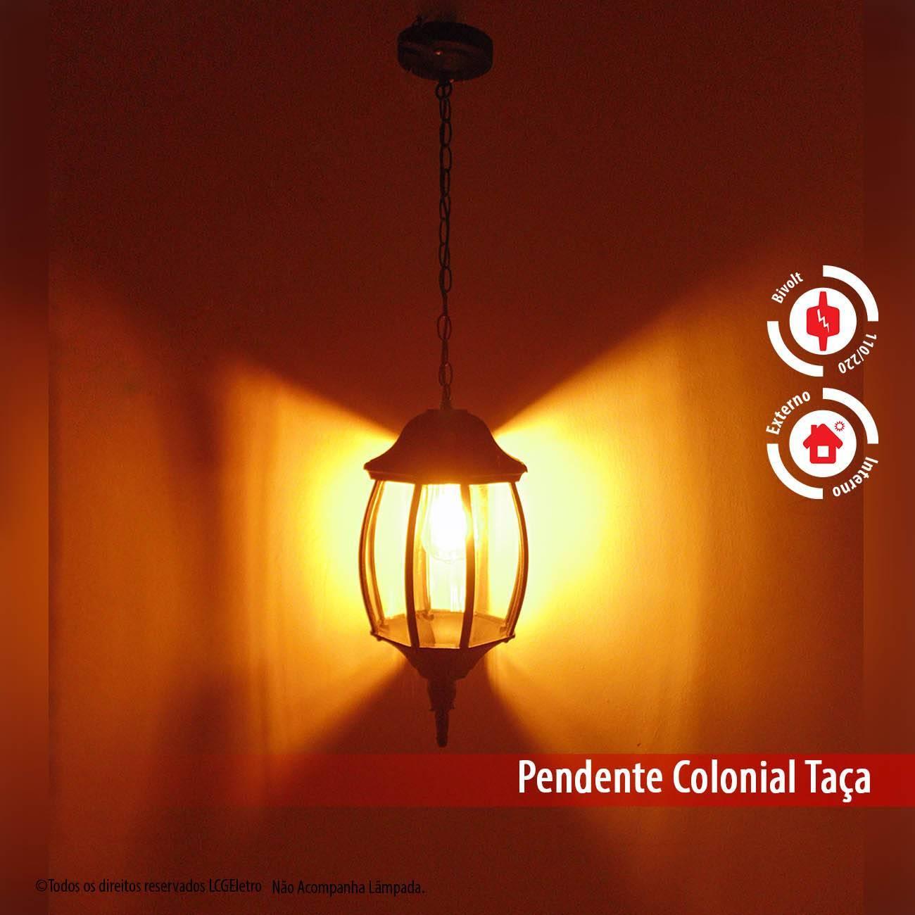 Pendente Colonial Alumínio Preto 8 Faces Externo - LCGELETRO