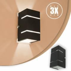 Arandela 2 Fachos e Frisos Externa E Interna Preta Kit 03 unidades