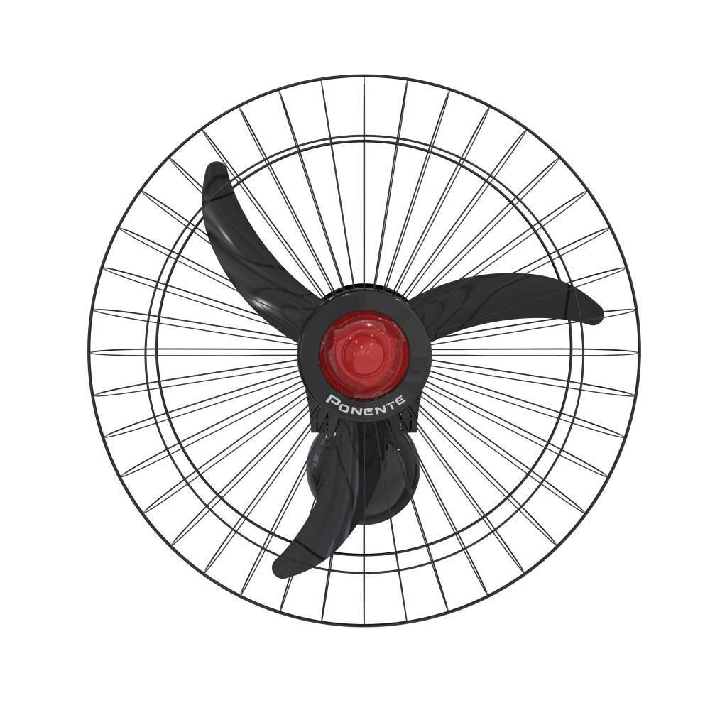 Ventilador de Parede Oscilante 60cm Preto Ponente 200w Bivol - LCGELETRO