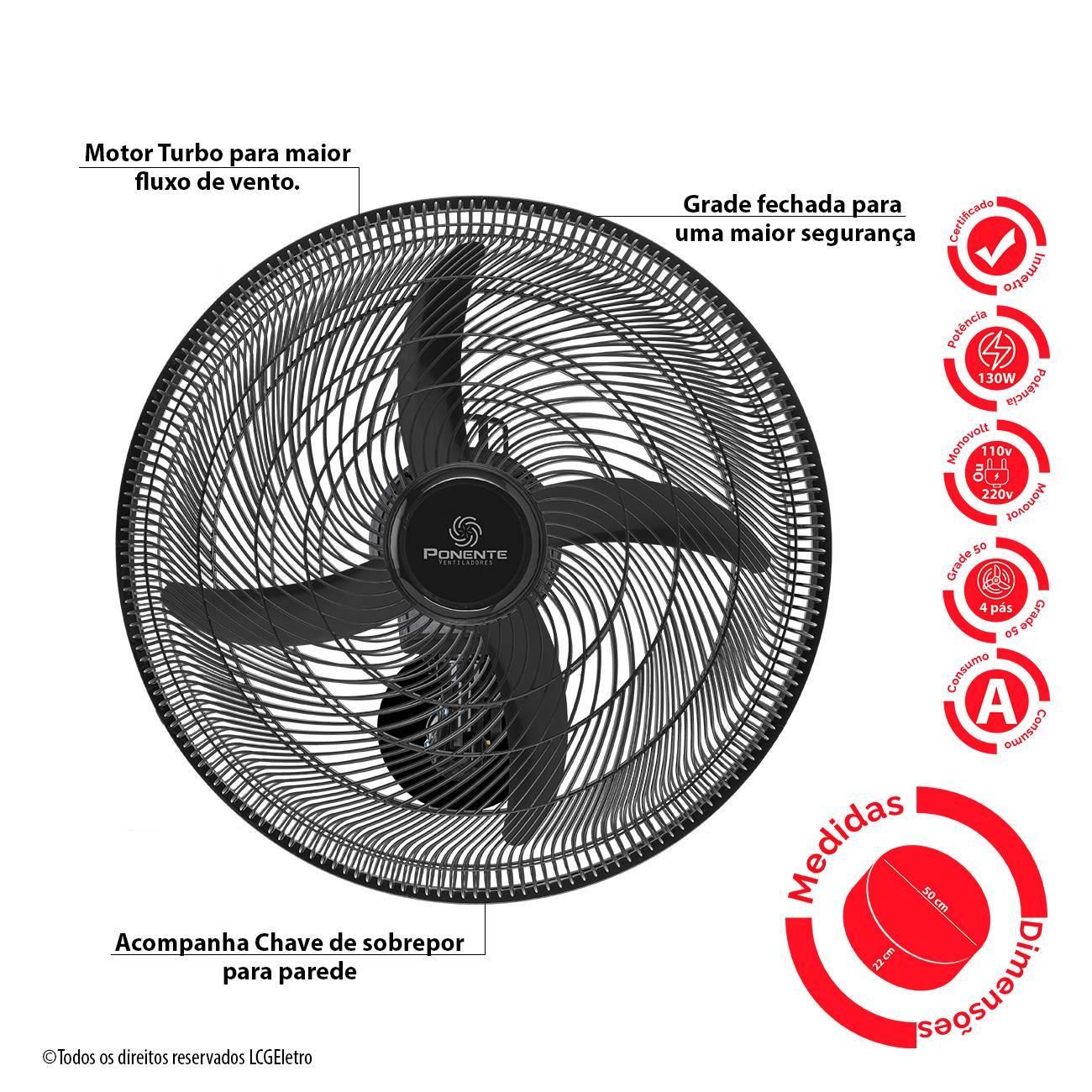 Ventilador de Parede Ponente Oscilante Preto Four 50cm 4 Pás - LCGELETRO