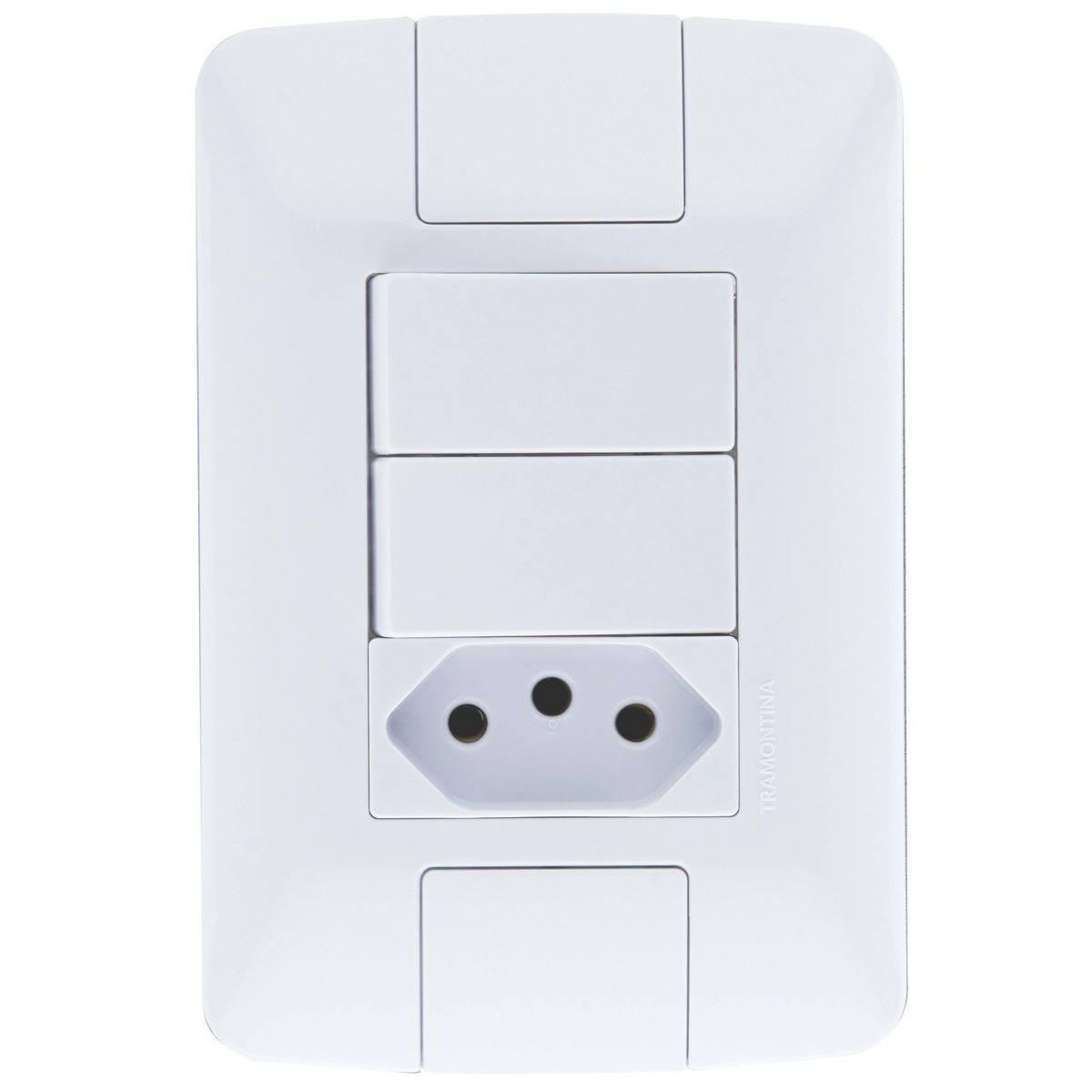 Conjunto Montado Aria 4x2 2 Interruptores Simples 6a + 1 Tom - LCGELETRO