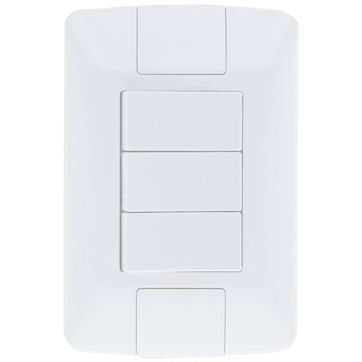 Conjunto Montado Aria 4x2 3 Interruptores Simples 250V Tramo - LCGELETRO