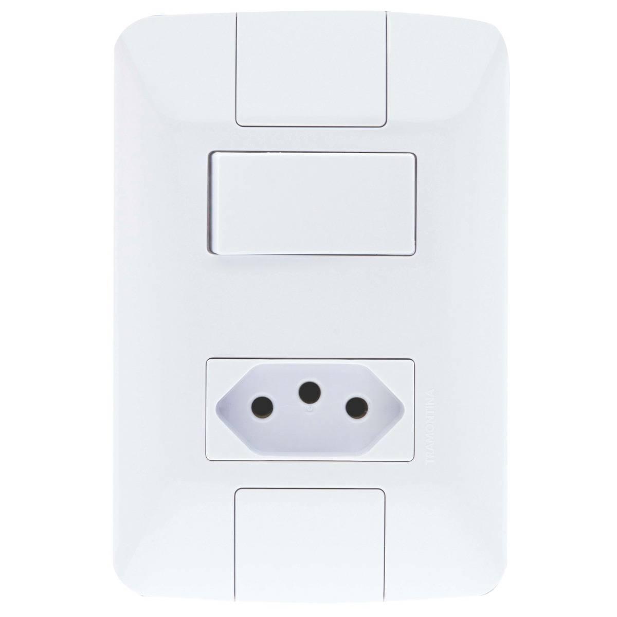 Conjunto Montado Aria 4x2 1 Interruptor simples 6A + 1 Tomad - LCGELETRO