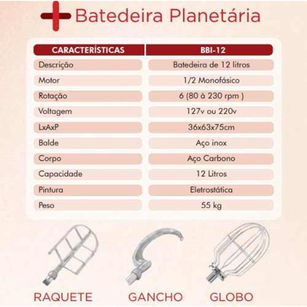 Batedeira Industrial Profissional Planetária 12 Litros 6 Vel - LCGELETRO