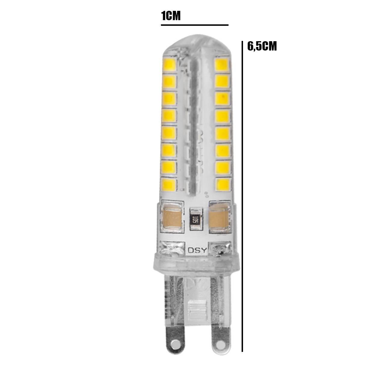 Kit 10 Lâmpadas Led Halopin G9 5w Branco Quente P/ Lustres e - LCGELETRO