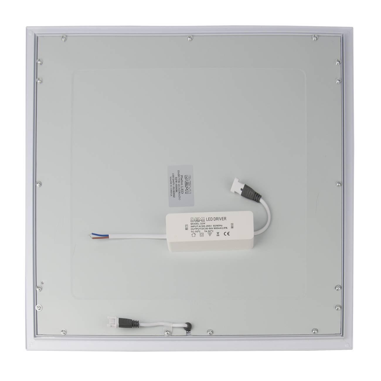 Luminária Plafon Led Embutir Quadrado 32w 4000k 40x40cm Luz  - LCGELETRO