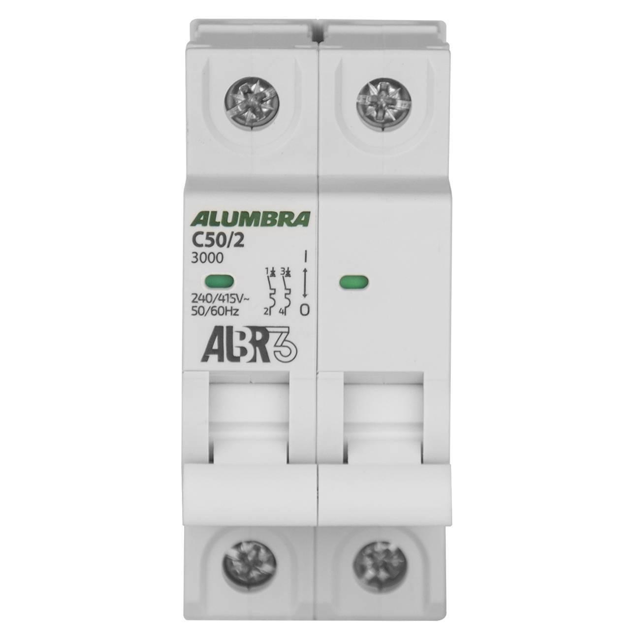 Disjuntor Bipolar 50A 3Ka Curva C Albr Alumbra - LCGELETRO