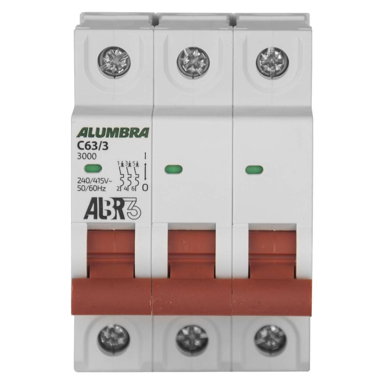 Disjuntor Tripolar 63A 3Ka Curva C Albr Alumbra - LCGELETRO