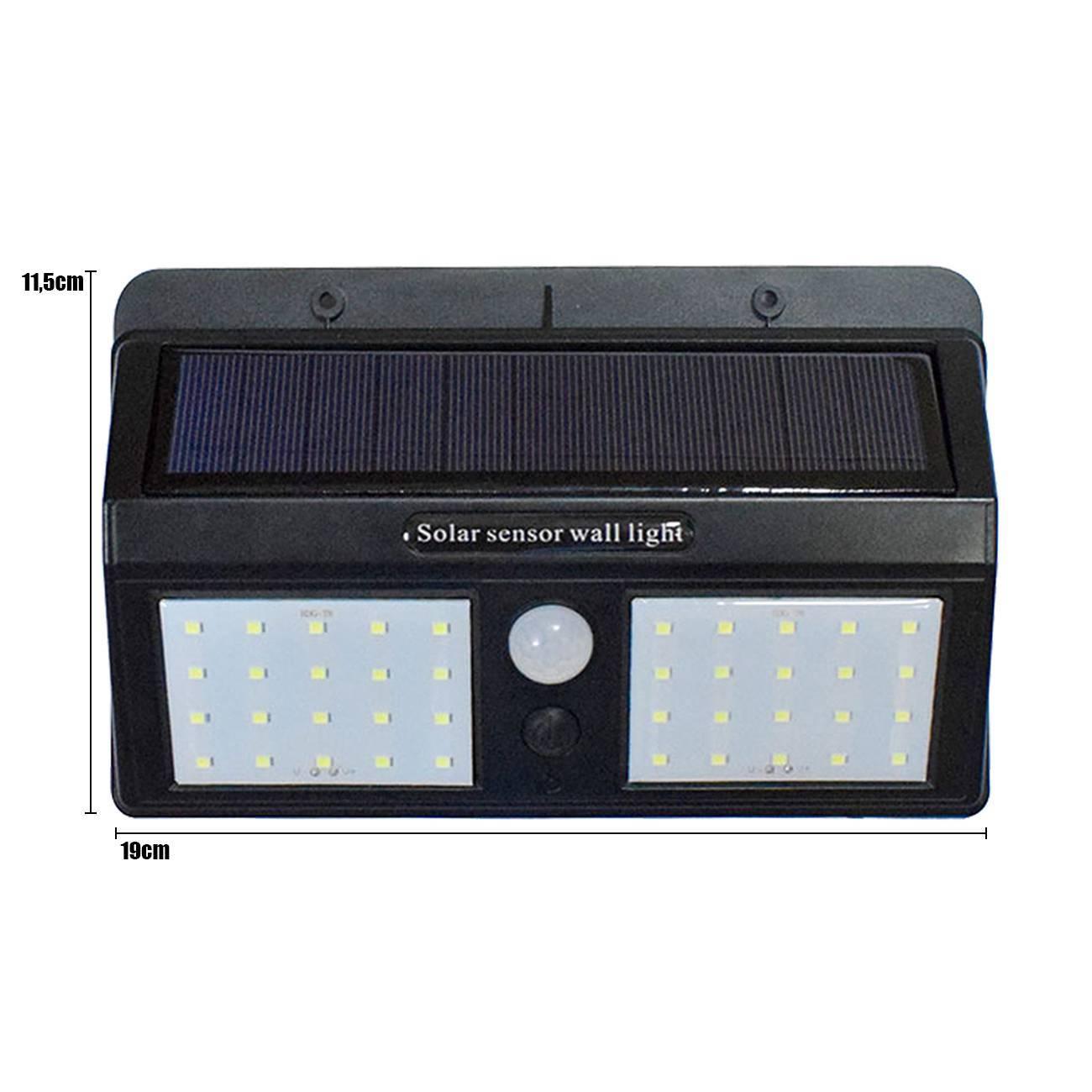 Arandela Led 12w Solar Com Sensor De Presença 40 Leds - LCGELETRO
