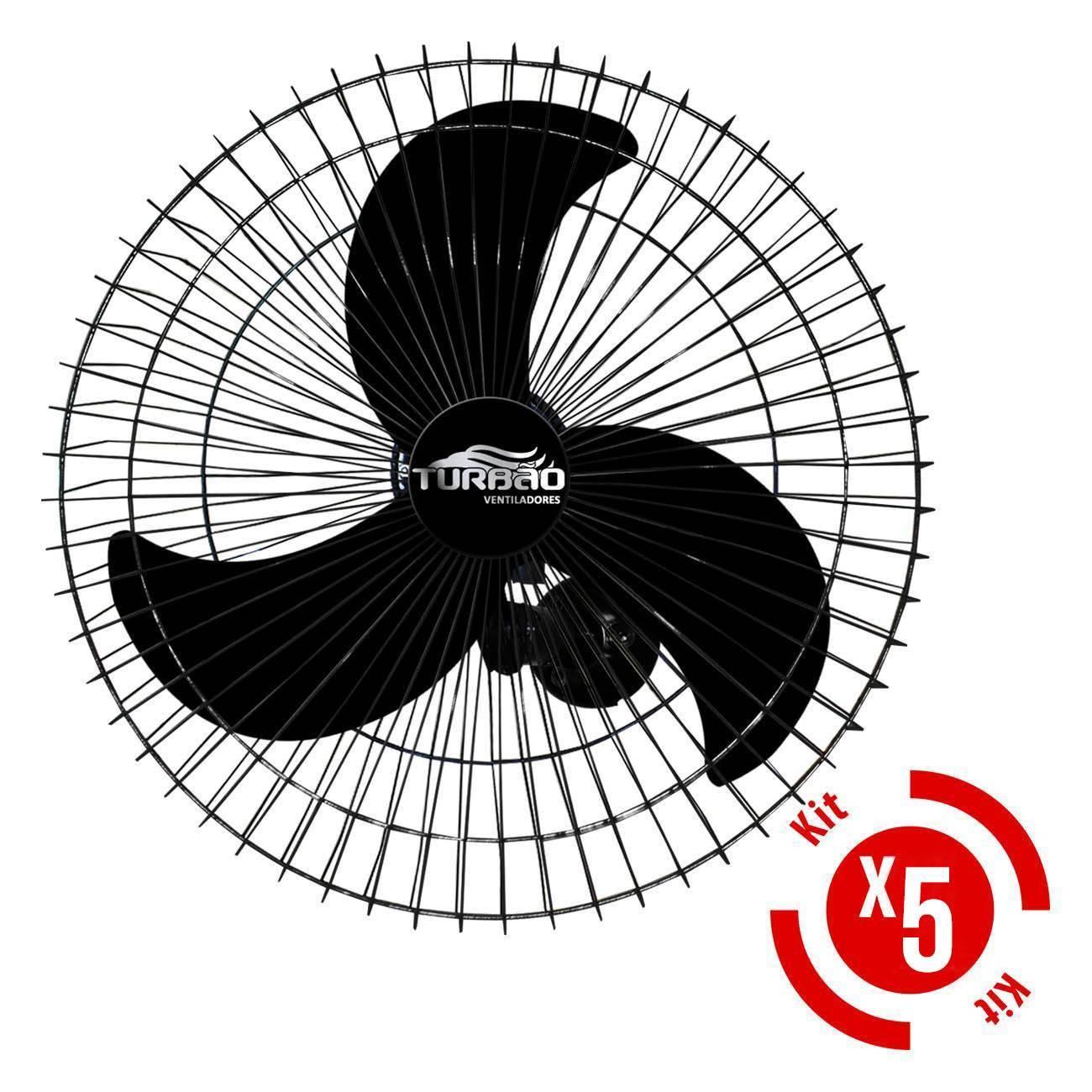 Kit 5 Ventiladores De Parede 60cm Oscilante Preto Turbão 200 - LCGELETRO