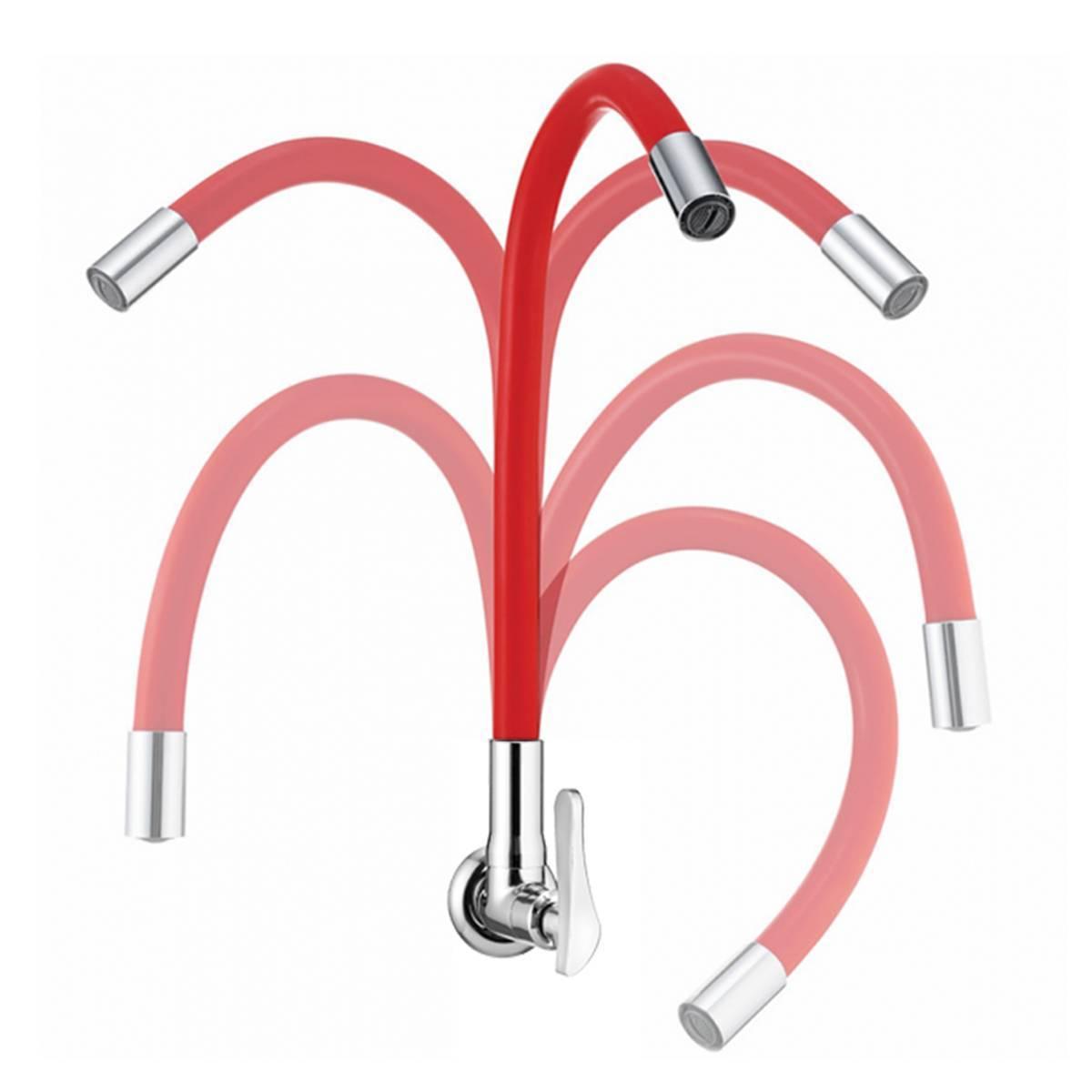 Torneira Para Cozinha De Parede Bica Flexível B27 Vermelha L - LCGELETRO