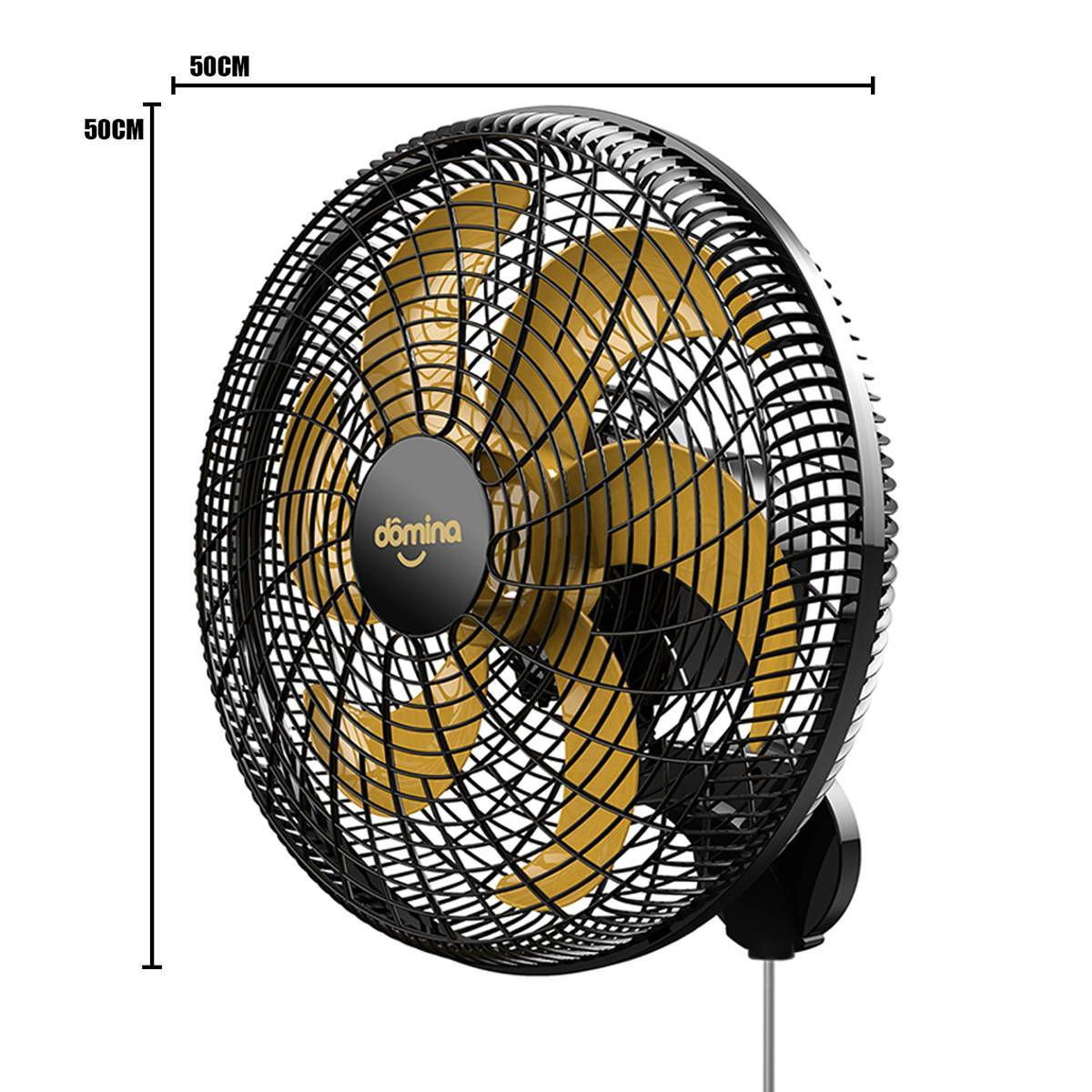 Ventilador De Parede Turbo 6 Pás 50cm Preto/Dourado Domina C - LCGELETRO