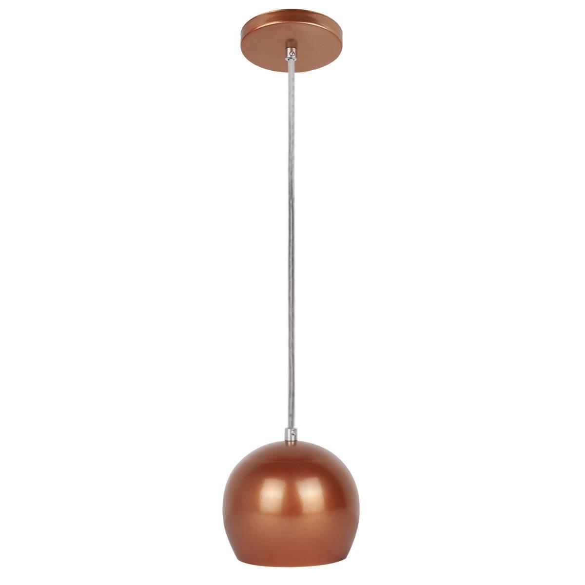 Luminária Pendente Bola Cobre Pequeno P/ 1 Lâmpada Enerlux - LCGELETRO