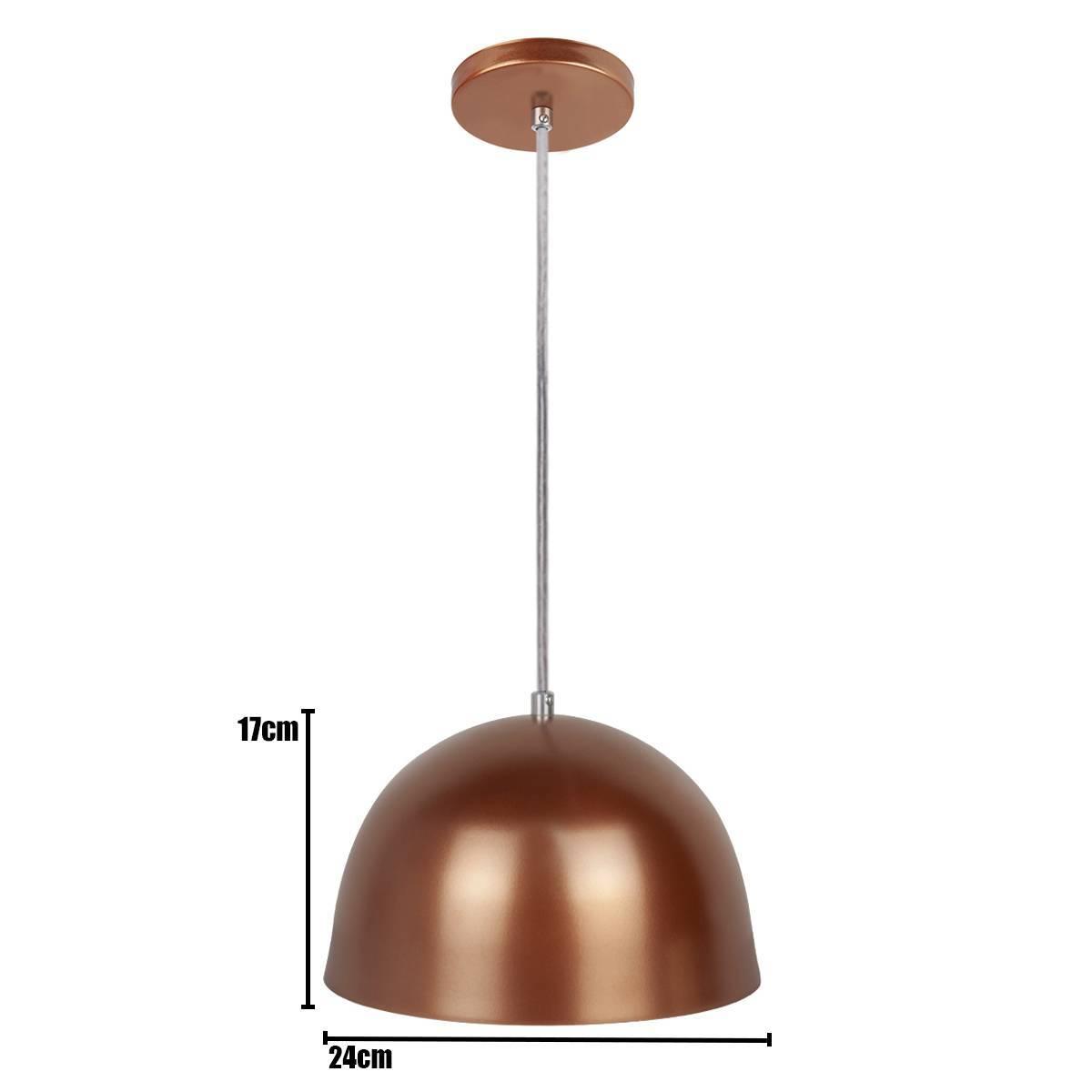 Luminária Pendente Cúpula Cobre Pequeno P/ 1 Lâmpada Enerlux - LCGELETRO