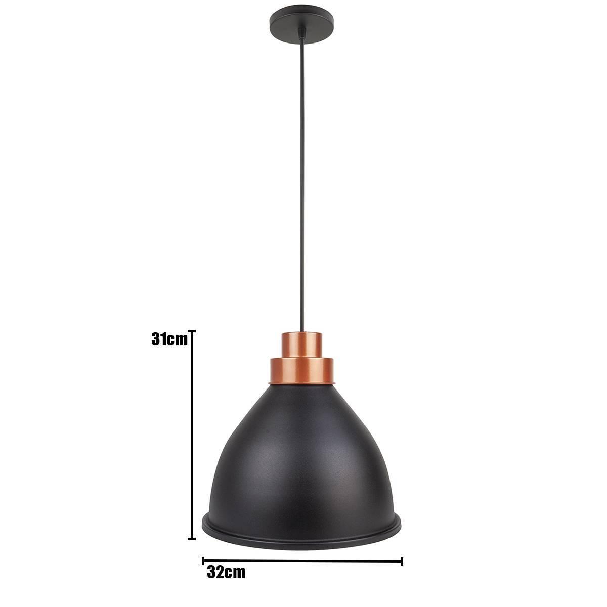 Luminária Pendente Moscou Cobre E Preto P/ 1 Lâmpada Enerlux - LCGELETRO